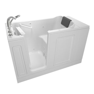 American Standard 119 Luxury Series 50-1/2 x 30 in. 13-Jet Acrylic Rectangle Built-In and 3-Wall Alcove Bathtub with Left Drain A3051119WL
