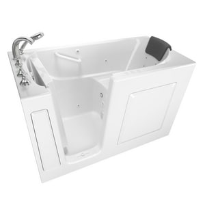 American Standard 109 Premium Series 59-1/2 x 29-3/4 in. 39-Jet Gelcoat and Fiberglass Rectangle Built-In 3-Wall Alcove Bathtub with Left Drain A3060109CL