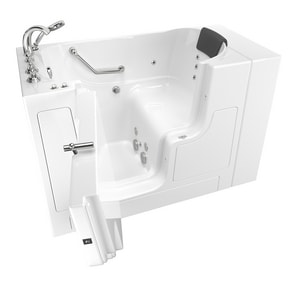 American Standard 109 Premium Series 52 x 30 in. 12-Jet Gelcoat and Fiberglass Rectangle Built-In 3-Wall Alcove Bathtub with Left Drain A3052OD109WL
