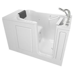 American Standard 109 Premium Series 48 x 28-1/2 in. 39-Jet Acrylic, Fiberglass and Gelcoat Rectangle Built-In 3-Wall Alcove Bathtub with Right Drain A2848109CR