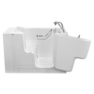 American Standard 709 Value Series 52 x 30 in. Gelcoat Rectangle Walk-In and Built-In Bathtub with Right Drain A3052OD709SR