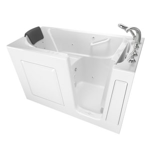 American Standard 109 Premium Series 59-1/2 x 29-3/4 in. 39-Jet Gelcoat and Fiberglass Rectangle Built-In 3-Wall Alcove Bathtub with Right Drain A3060109CR