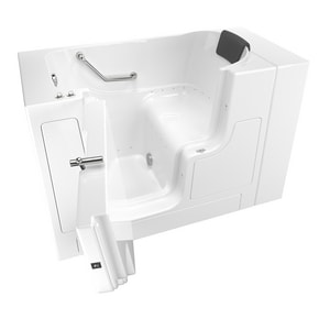 American Standard 105 Premium Series 52 x 30 in. 26-Jet Gelcoat and Fiberglass Rectangle Built-In 3-Wall Alcove Bathtub with Left Drain A3052OD105AL