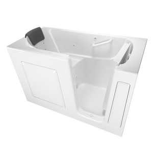 American Standard 105 Premium Series 59-1/2 x 29-3/4 in. 13-Jet Gelcoat and Fiberglass Rectangle Built-In 3-Wall Alcove Bathtub with Right Drain A3060105WR