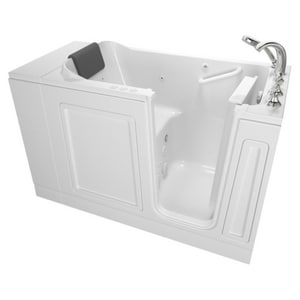 American Standard 119 Luxury Series 48 x 28 in. 39-Jet Acrylic, Fiberglass and Gelcoat Rectangle Built-In 3-Wall Alcove Bathtub with Right Drain A2848119CR