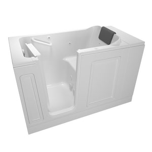 American Standard 115 Luxury Series 50-1/2 x 30 in. 13-Jet Acrylic Rectangle Built-In and 3-Wall Alcove Bathtub with Left Drain A3051115WL