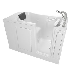 American Standard 109 Premium Series 48 x 28-1/2 in. 13-Jet Acrylic, Fiberglass and Gelcoat Rectangle Built-In 3-Wall Alcove Bathtub with Right Drain A2848109WR
