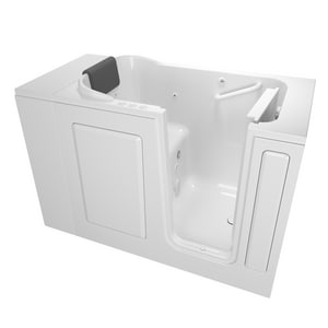 American Standard 105 Premium Series 48 x 28-1/2 in. 39-Jet Acrylic, Fiberglass and Gelcoat Rectangle Built-In 3-Wall Alcove Bathtub with Right Drain A2848105CR