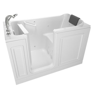 American Standard 119 Luxury Series 48 x 28 in. 13-Jet Acrylic, Fiberglass and Gelcoat Rectangle Built-In 3-Wall Alcove Bathtub with Left Drain A2848119WL