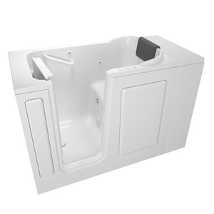 American Standard 105 Premium Series 48 x 28-1/2 in. 39-Jet Acrylic, Fiberglass and Gelcoat Rectangle Built-In 3-Wall Alcove Bathtub with Left Drain A2848105CL