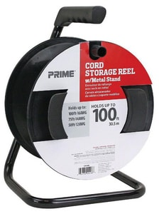 Prime Wire and Cable Portable Cord Reel with Metal Stand in Black PCR003000