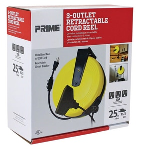 Prime Wire and Cable 25 ft. Metal Cord Reel with Triple Tap and Circuit Breaker PCR211625