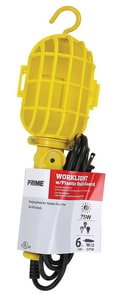 Prime Wire and Cable 75W Yellow Work Light with Plastic Guard PTL098506
