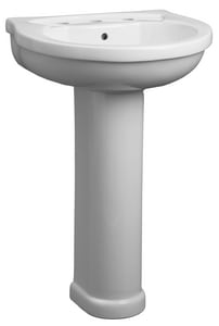 Mirabelle® Provincetown 3-Hole Pedestal Bathroom Sink with 8 in. Widespread Faucet Hole and Center Drain MIRPRC358