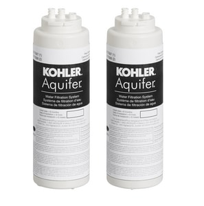 Kohler 1.70 gpm High Impact Plastic Replacement Filter Cartridge 2-Pack for K-77685 Aquifer Water Filtration System K77688-NA