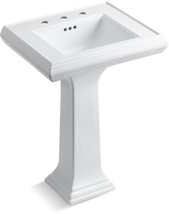 Kohler Memoirs® 3-Hole Pedestal Rectangular Bathroom Sink with 8 in. Faucet Centerset and Rear Center Drain K2238-8