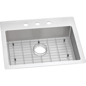 Elkay Crosstown™ 18 ga 3-Hole 1-Bowl Self-Rimming and Drop-In or Undermount Stainless Steel Kitchen Sink in Polished Satin EECTSRAD25226TBG3