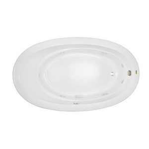 Jacuzzi Riva® 72 x 42 in. Acrylic Oval Drop-In or Undermount Whirlpool Bathtub with Right Drain and J2 Basic Control JRIV7242WRL2XX