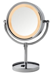 Jerdon Style 8-1/2 x 15-1/2 in. Halogen Lighted Freestanding Table Top 5X Magnifying Mirror JHL745
