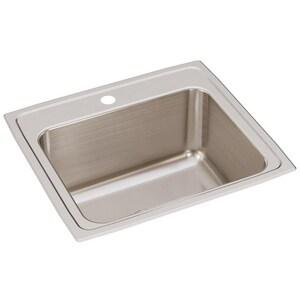 Elkay Gourmet® Lustertone 22 x 19-1/2 in. Stainless Steel Single Bowl Top Mount Sink EDLR221910