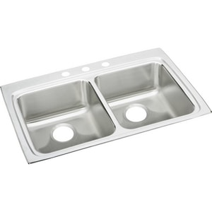 Elkay Gourmet™ Lustertone® 2-Bowl Stainless Steel Topmount Kitchen Sink with Rear Center Drain ELRAD332255