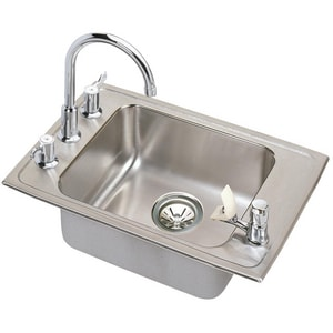 Elkay Lustertone® Single Bowl Stainless Steel Sink with Fountain EDRKAD251755C
