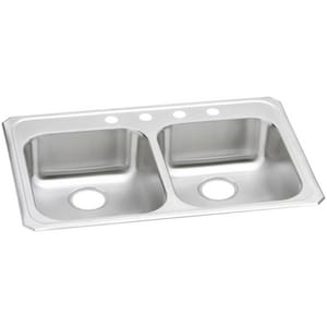 Elkay Gourmet Celebrity® 2-Hole 2-Bowl Topmount Kitchen Sink in Brushed Satin EGECR33212