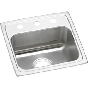 Elkay Gourmet® 17 x 16 x 5-1/2 in. 3-Hole Single Bowl Bar Sink Stainless Steel ELRAD1716553