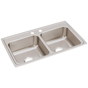Elkay Gourmet® 2-Hole 2-Bowl Topmount Kitchen Sink in Lustrous Highlighted Satin ELR33192