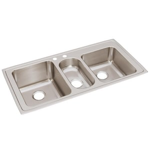 Elkay Gourmet 2-Hole 3-Bowl Self-rimming or Drop-in Kitchen Sink in Lustertone ELGR43222
