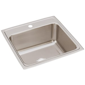 Elkay Gourmet® 1-Hole 1-Bowl Topmount Deep Kitchen Sink in Lustrous Highlighted Satin EDLR2222101