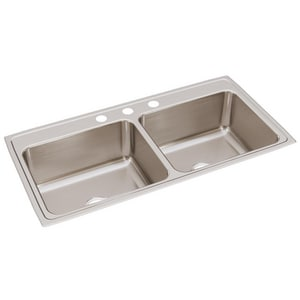 Elkay Gourmet Lustertone® 3-Hole 2-Bowl Deep Kitchen Sink EDLR432210