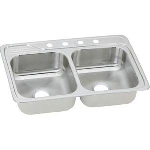 Elkay Celebrity® 1-Hole 2-Bowl Topmount Deep Kitchen Sink in Brushed Satin EECC33221