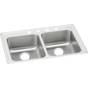 Elkay Lustertone® 3-Hole 2-Bowl Stainless Steel Kitchen Sink in Satin ELRAD2922653