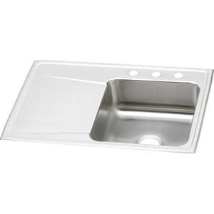 Elkay Gourmet® 3-Hole Single Bowl Stainless Steel Kitchen Sink with Left Hand Drain Board EILR3322R