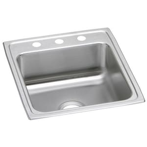 Elkay Lustertone® 3-Hole 1-Bowl Topmount Kitchen Sink in Lustrous Highlighted Satin ELRAD2022653