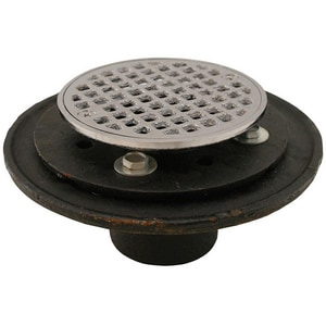 Jones Stephens 2 in. No-Hub Cast Iron Shower Drain with Strainer Polished Chrome JD60205