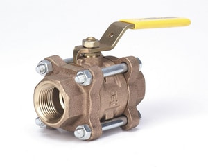 Milwaukee Valve 3-Piece 150 SWP Threaded x NPT Bronze Full Port Isolation Ball Valve with Lever Handle MBA300