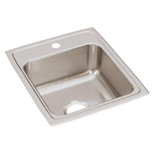Elkay Gourmet® 1-Hole 1-Bowl Topmount Kitchen Sink in Lustrous Highlighted Satin ELR17201