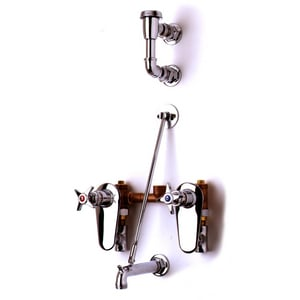 T&S Brass Double Cross Handle Wall Mount Service Sink Commercial Faucet in Polished Chrome TB0695ST