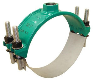 Ford Meter Box 16 in. IP Ductile Iron Epoxy Double Strap Saddle with Stainless Steel Band FFC2021840IP