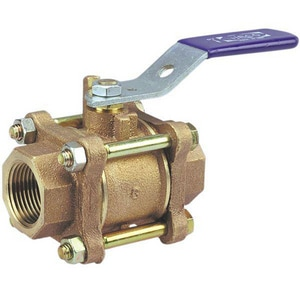 Nibco FNPT 3-Piece Cast Bronze Ball Valve with Lever Handle NT595Y