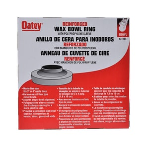 Oatey 3 to 4 in. Plastic Bowl Wax Ring with Poly Sleeve O31195