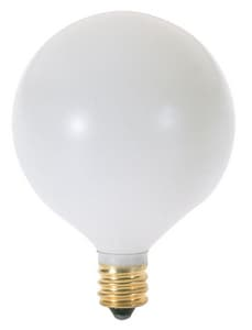 Satco 130V Candelabra Base Globe Decorative Lamp in White SA3924