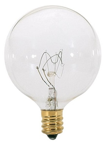 Satco 60W G16 1/2 Dimmable Incandescent Light Bulb with Candelabra Base SA3931
