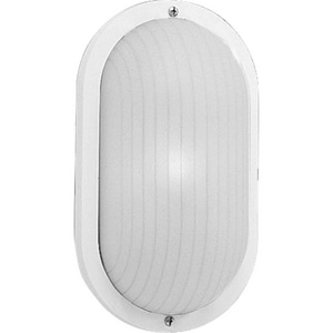 Progress Lighting Bulkheads 3-3/4 in. 60W 1-Light Outdoor Wall Sconce with UV Stabilized Ribbed Frosted Polycarbonate Oval Lens Glass in White PP570430