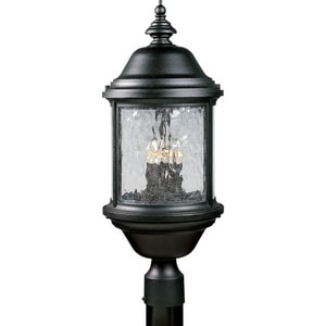Progress Lighting Ashmore 60 W 3-Light Candelabra Post Lantern in Black PP545031