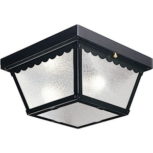 Progress Lighting 60 W 2-Light Medium Outdoor Flush Mount Ceiling with Textured Glass PP5729