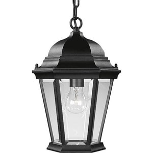 Progress Lighting Welbourne 9-3/8 in. 100 W 1-Light Medium Chain Hung Lantern in Black PP558231