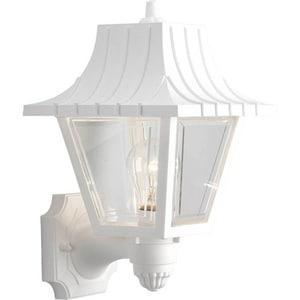 Progress Lighting Mansard 8-1/4 in. 60W 1-Light Outdoor Wall Sconce with Clear Beveled Acrylic Glass in White PP581430
